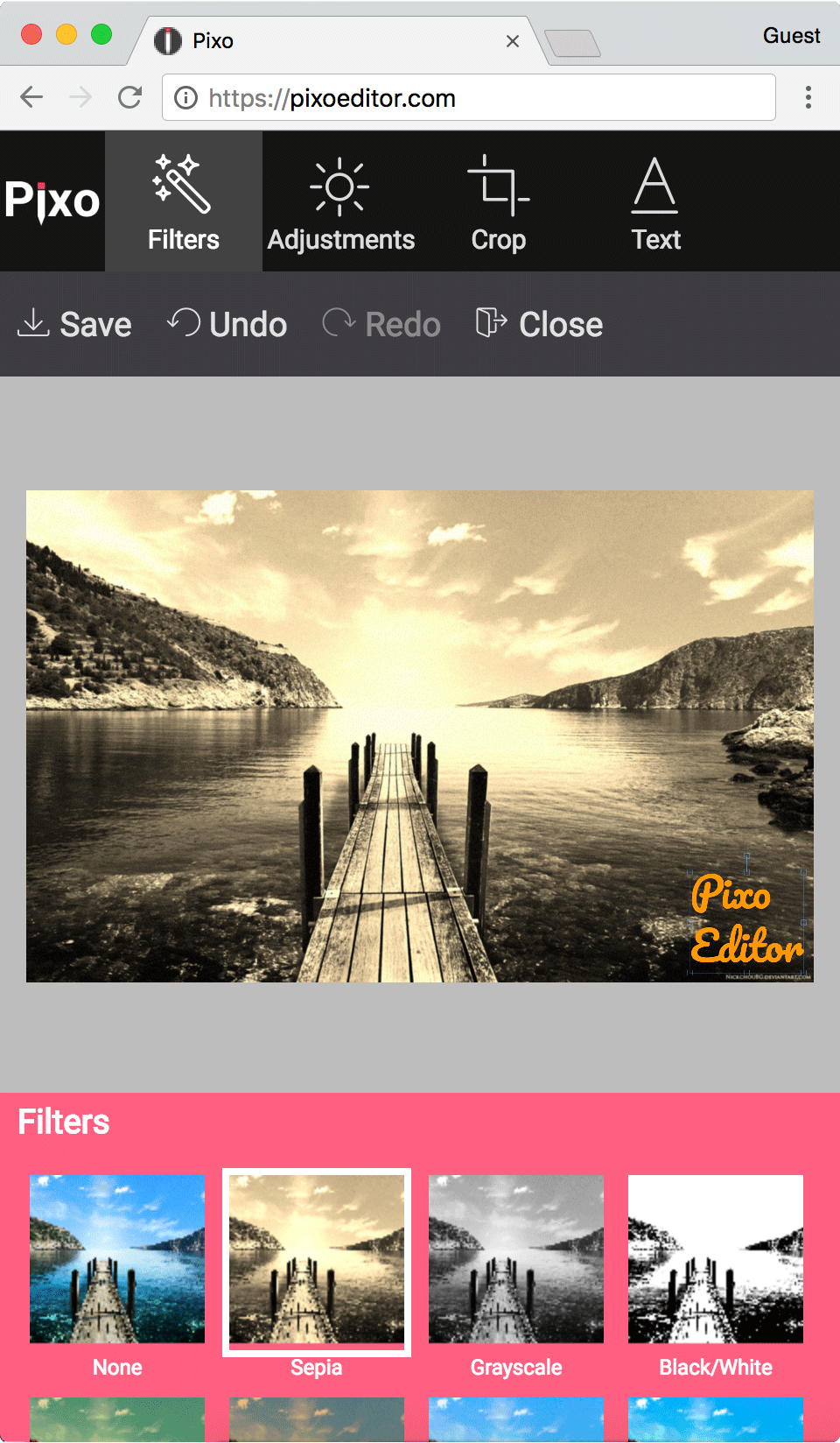 Pixo editor mobile screenshot, you have everything just like in Aviary editor