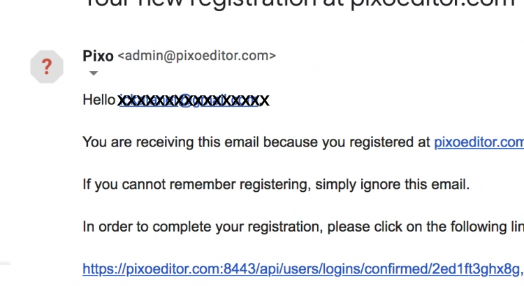 Confirmation email screenshot